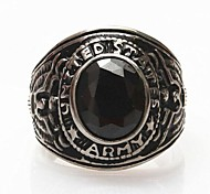 Z&X®  Men's Fashion Black Stones Titanium Steel Ring