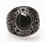 Z&X®  Men's Fashion Black Stones Titanium Steel Ring Christmas Gifts