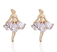 Women's Shining Dancing Girl Shape 18K Gold Zircon Earrings