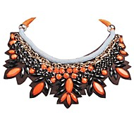 JANE STONE Women's  Fashion Orange and Black Resin Floral Necklace