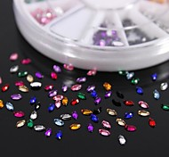 600PCS 12Colours Horse Eye Shape Acrylic Rhinestones Wheel Nail Art Decoration