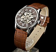 Men's Watch Skeleton Mechanical Movement Leather Strap