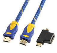 1.5M 5FT 1080P HDMI V1.4 Male to Male Cable w/ Mini HDMI + Micro HDMI Adapter Free Shipping Free Shipping