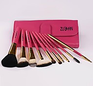 10 Pcs Professional Goat Hair Makeup Brush Set Make Up Tools with Red Leather Bag and Retail Box