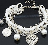 Lureme®Hollow out Loving Heart Pearl Multilayer Crystals Weaving Bracelet