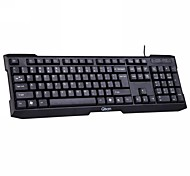 Qisan KV100 USB Wired Keyboard 104 Comfort Chaves Waterproof Gaming Mouse - Preto