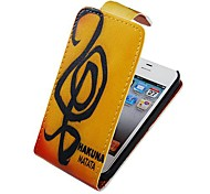 Musical Note Up-down Turn Over PU Leather Full Body Case for iPhone 4/4S