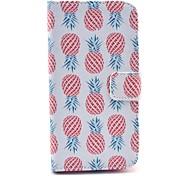 rote Ananas Muster auf weißem PU-Leder Ganzkörper-Fall für Samsung s3 i9300