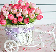 "9.2""H Rose Bud in Bike Design Basket Decoration"