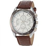 style décontracté noir PU bande de quartz montre-bracelet des hommes