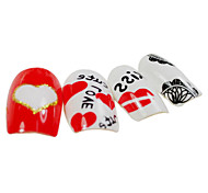 24PCS Covered with Love Design Red&White Nail Art Tips With Glue