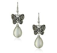 Vintage farfalla argento antico della lega ciondola gli orecchini di goccia