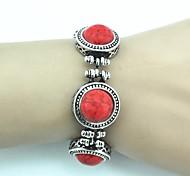 Toonykelly ® de 18 cm de la Mujer de la vendimia de plata antiguo de la turquesa pulsera (Rojo) (1 PC)