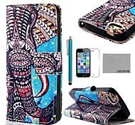 COCO FUN ® Blue Elephant Pattern PU Leather Case Full Body com Filme, Stand e Stylus para iPhone 5/5S
