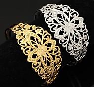 u7® vintage flor 18k oco ouro robusto platina preenchido banhado manguito pulseira para mulheres