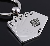 Playing CARDS Shape Metal Silver Keychain Toys