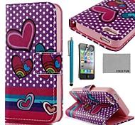 COCO FUN ® Corazón Púrpura PU Leather Case cuerpo completo con protector de pantalla, Stand and Stylus para iPhone 4/4S