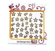 La plupart Nail populaires Metal 3D Stickers Décoration Avec Motif Étoiles