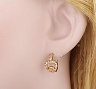 novo ouro das mulheres banhado de venda quente da forma do coração elegante brincos zircão