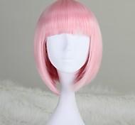 жен. Парики из искусственных волос Короткий Средний Светло-Розовый Стрижка боб С чёлкой Парик из натуральных волос Карнавальные парики