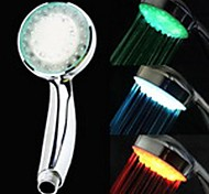 3-inch 12-LED 3Colors Heat Sensor Shower Head (Siliver ABS)