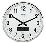"Telesonic™ 15""H Brief Style Circular Shape Perpetual Calendar Metallic Super Mute Wall Clock"