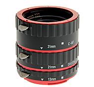 aleación de aluminio de 3 piezas de tubo de extensión macro para canon (oro, plata, rojo, azul)