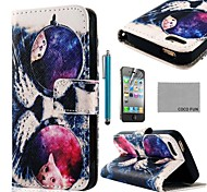 COCO FUN ® Glazen Kat PU Leather Full Body hoesje met Screen Protector, Stand en Stylus voor iPhone 4/4S