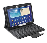 Silicone Bluetooth Keyboard with Leather Case for Samsung Galaxy Tab 3 10.1 P5200/P5210