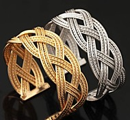 U7® New Vintage Big 18K Chunky Gold Filled Platinum Plated Cuff Bracelet Bangles For Men Women