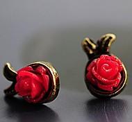 Beautiful Flowers Ms Black Red White Resin Alloy Stud Earrings