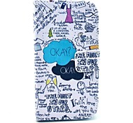 For Samsung Galaxy Case Wallet / Card Holder / with Stand / Flip / Pattern Case Full Body Case Word / Phrase PU Leather Samsung Core