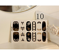 Most Popular Black 3D Full Finger Metallic Nail Decal Stickers With Wings Pattern