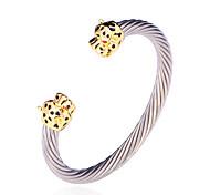 u7® fraîches bracelets manchette à la tête de léopard plaqué or 18k bracelets en acier inoxydable bijoux de mode de qualité 316L