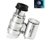 Super Mini 45X Plastic Microscope Optical Glass Lens with 2-LED Illuminating Lamps (3*LR927)
