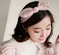Lureme®Fashion Net Yarn Bowknot Rabbit Ears Headband(Assorted Color)