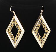 Vintage Rhombus Shape Leopard Print Golden Drop Earrings(1 Pair)