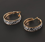 Fashion Golden Leopard Print Hoop Earring(1 Pair)
