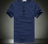 Men's  Round Collar Leisure Pure Color T-shirt with Short Sleeves