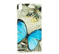 Kinston Blue Butterfly TPU Patrón Caso suave para HTC Desire 816