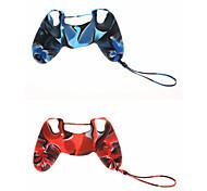 2pcs New Design de silicone protetora da camuflagem da pele com corrente para PS4 Controlador