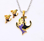 Fashion Purple  Mermaid Anchor Titanium Steel  Necklaces and Earrings Jewelry Sets