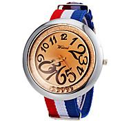 Men's Big Round Dial Strip Fabric Band Quartz Wrist Watch (Assorted Colors)
