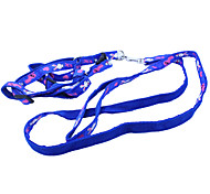 Adjustable Colorful Footprint Pattern Nylon Pet Harness with Leash for Dogs