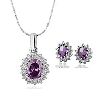 Women's 18K Platinum Purple Diamond (Necklace&Earrings) Jewelry Set