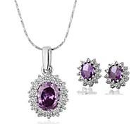 Women's 18K Platinum Purple Diamond (Necklace&Earrings) Jewelry Set
