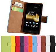 Solid Color PU Leather Full Body Case with Card Slot for Sony Xperia go St27i