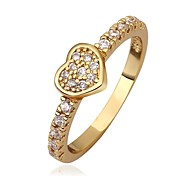Woman's Heart Shaped Gold Plated Ring (Gold / Gold-Pink)