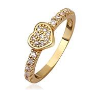 Herz der Frau Shaped überzog Ring (Gold / Gold-Pink)