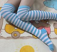 Socks/Stockings Sweet Lolita / Sailor Lolita Lolita Lolita White / Blue Lolita Accessories Stockings Striped For Women Nylon